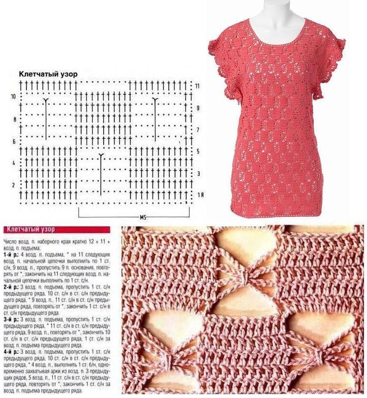 Вяжем платье, тунику и веер паучками (звездочками) крючком - схемы и описания