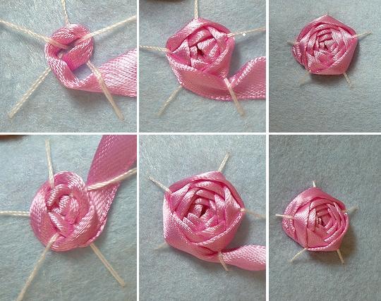 как просто вышить розу лентой, мастер-класс для начинающих